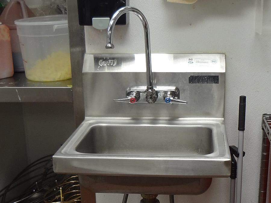 commercial sink in chef tony's restaurant