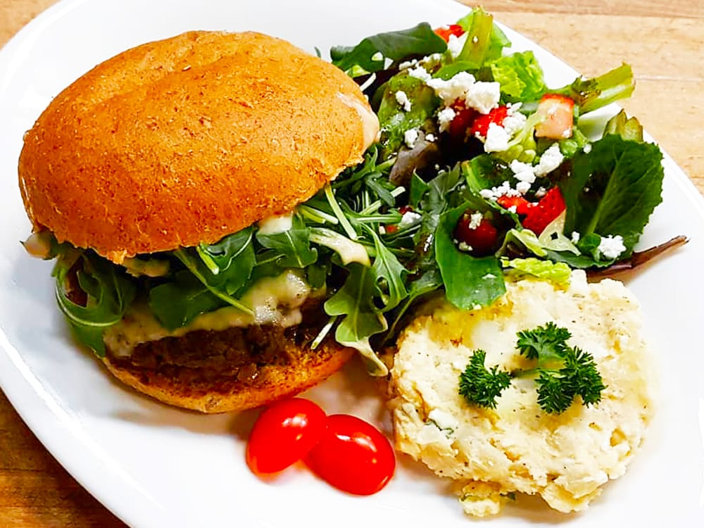 Burger Lunch Special with Potatoand Green Salad at Steveston Bakery
