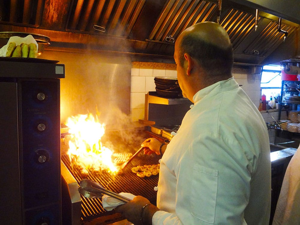 Chef Marino grills souvlaki at Kisamos Restaurant in Steveston