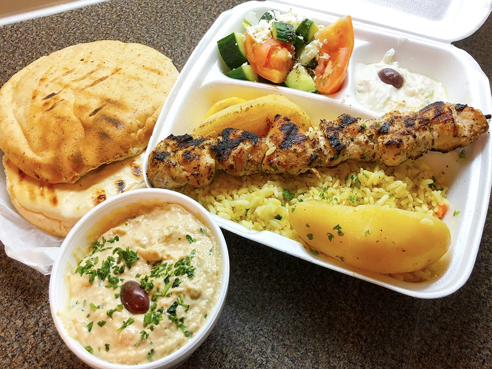 Chicken Souvlaki with Tzatziki and Pita Bread Take Out at Kisamos Greek Restaurant