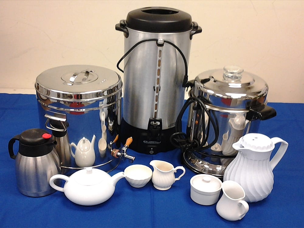 Coffee and Tea serving sets at Surdel Party Rentals