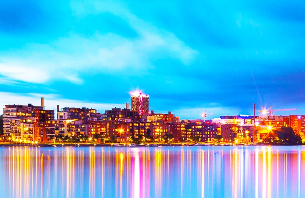 Evening Lights in Tampere Finland with Columbus World Travel