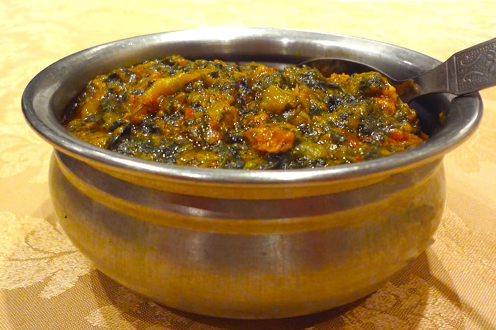 Goat Palak ~ Bone-in goat cooked with chopped spinach and spices at the Original Tandoori Kitchens