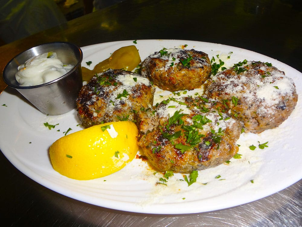 Keftethes - Greek Style Meatballs at Kisamos Taverna