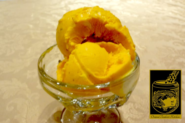 Mango Ice-cream ~ Home-made icecream with pistachios and nuts at the Original Tandoori Kitchens
