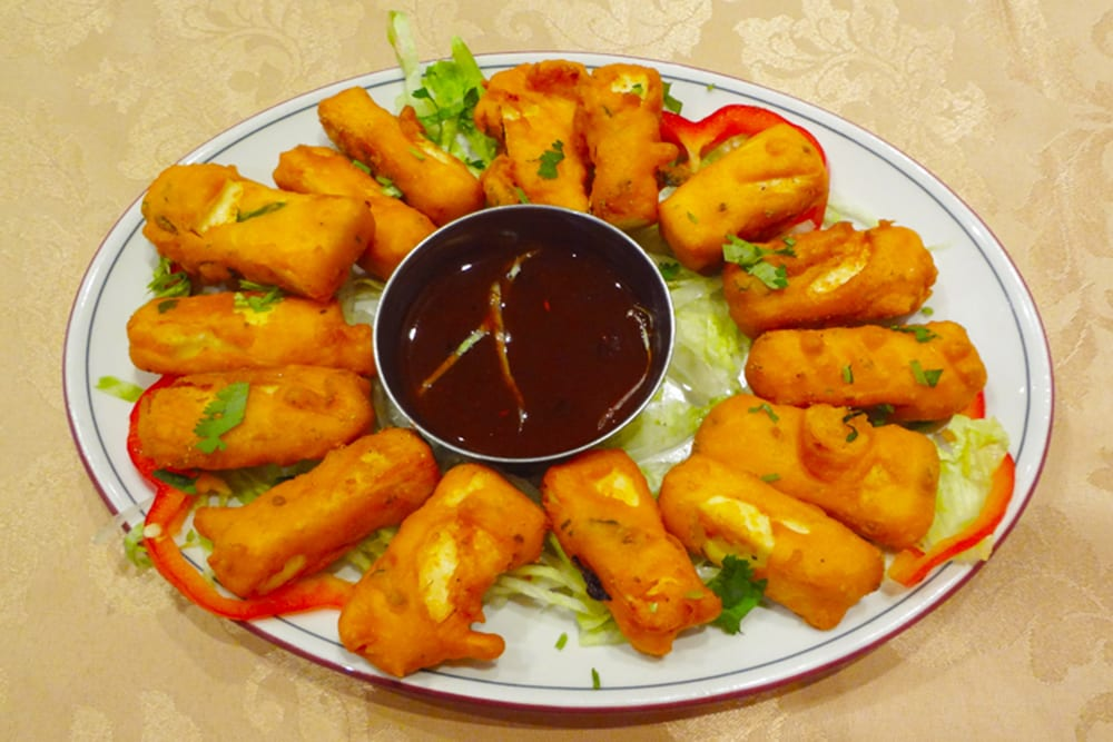 Paneer Pakora ~ Fresh homemade cheese, marinated in yogurt, ginger, garlic and batter-fried at Original Tandoori Kitchen