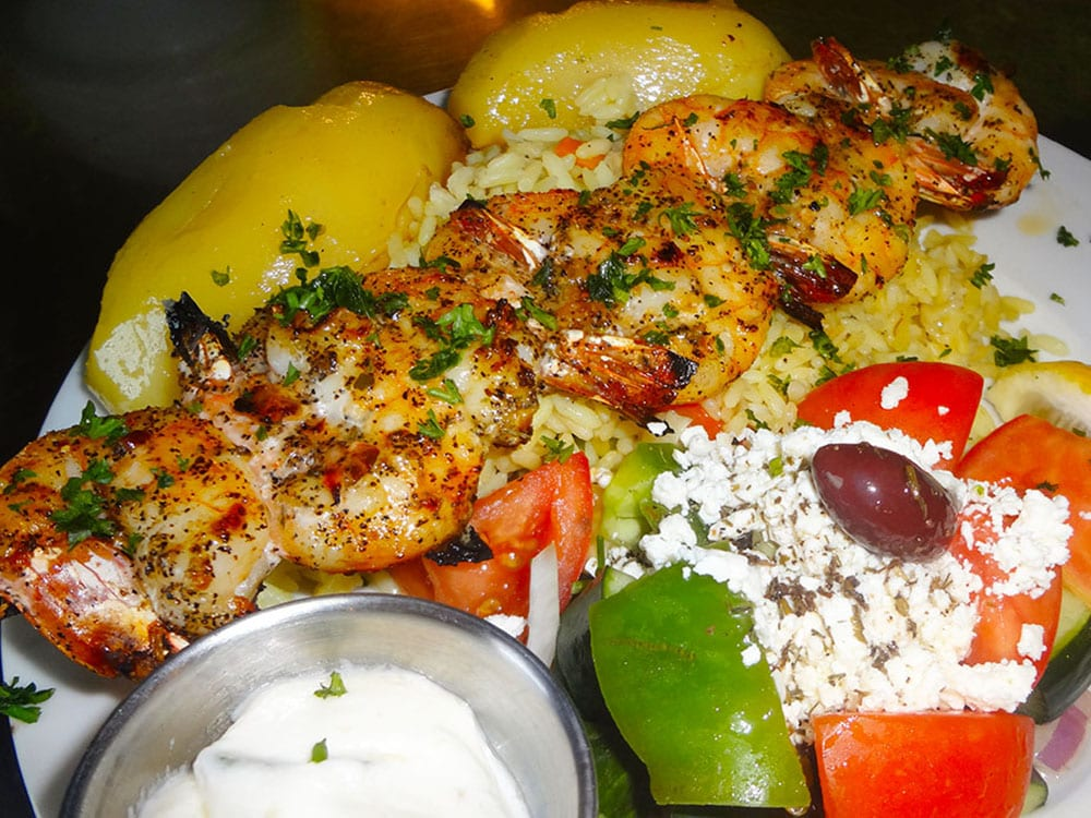 Prawn Souvlaki at Kisamos Taverna on Best in BC