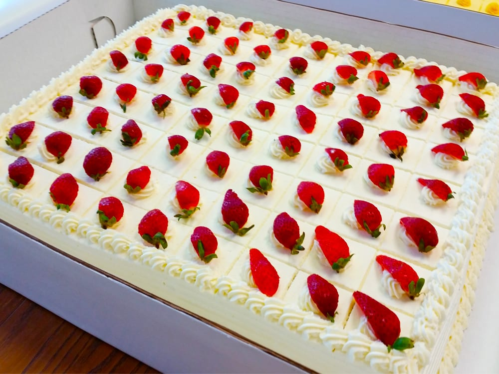 Strawberry Whipped Cream Layer Cake for Large Parties at Steveston Bakery